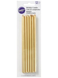 12 Pack Long Gold Candles