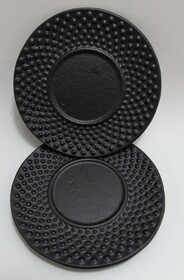Cast Iron Coasters set of 2 Hobnail Black