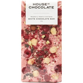 Raspberry, Hazelnut & Cacoa White Chocolate Bar 96g