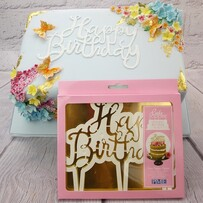Happy Birthday Script Cake Topper Cutter