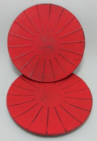 Cast Iron Coaster Set of 2 Ribbed Red