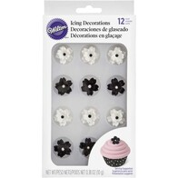Black & White Flower Layered Icing Decorations