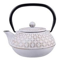 Cast Iron Teapot 900ml Gold Leaf White