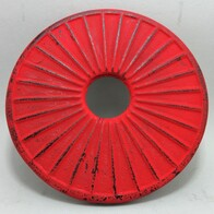 Cast Iron Trivet Ribbed Red