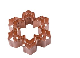 Snow Flake Cookie Cutter Copper Plated Set Of 3